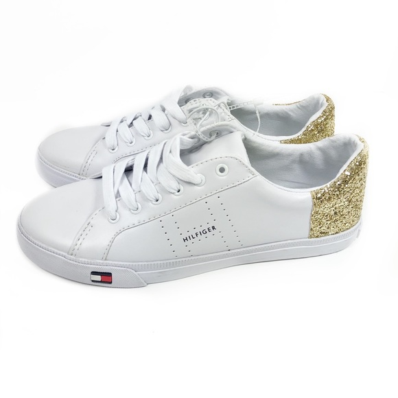 1d3264f45 Tommy Hilfiger Lune Sneakers White Gold Glitter. M 5ab00301077b97f660457200